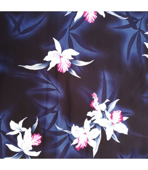 Hawaiian Rayon Fabric [ Midnight Orchid ] Black