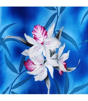 Hawaiian Rayon Fabric [ Midnight Orchid ] Blue